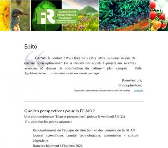 Lettre de la FR AIB - automne 2020